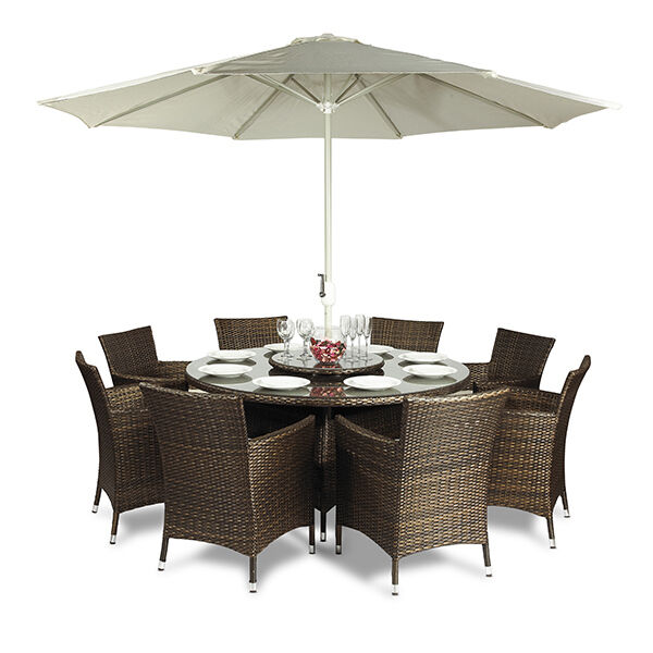Savannah rattan garden furniture 8 seat round dining table for Outdoor furniture 8 seater