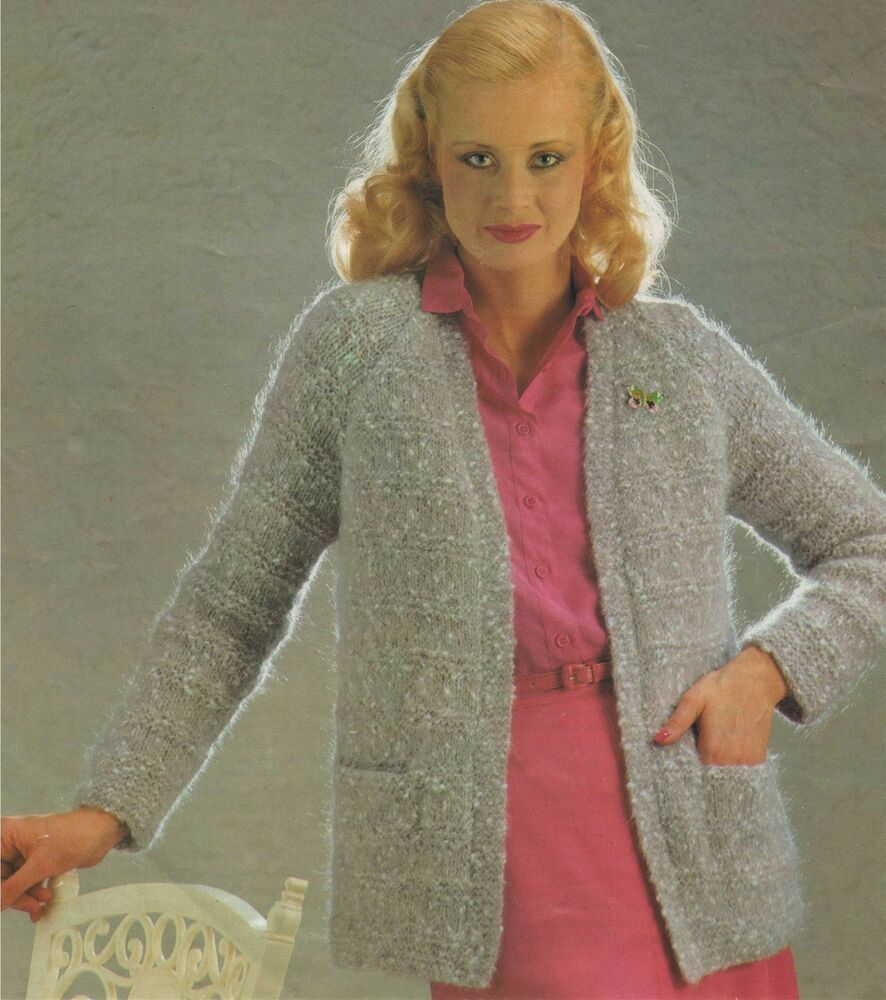 Ladies Jacket / Cardigan Knitting Pattern : 32 34 36 38 40 inch bust : Mohair...