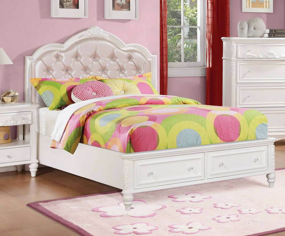 PRETTY WHITE Amp PINK TWIN FOOTBOARD STORAGE YOUTH BED