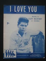 CLIFF RICHARD  60's  sheet music- I LOVE YOU
