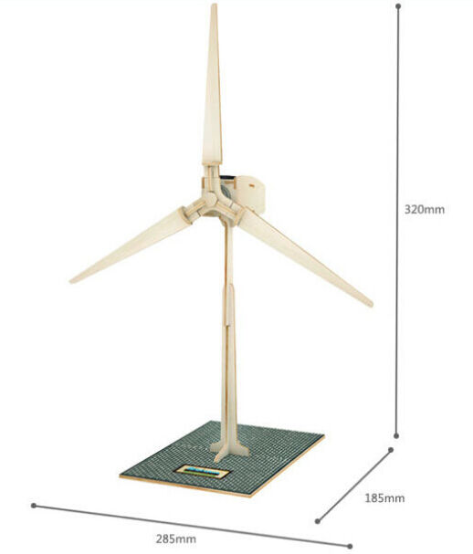 Desktop Model-Solar Powered DIY wooden Toy 3D puzzle Windmill Wind ...