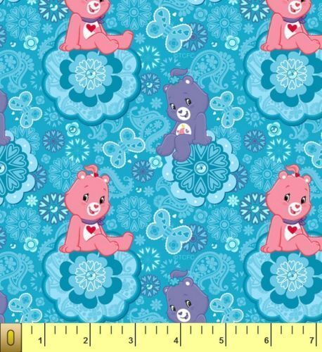 cute care bears blue childrens kids fleece fabric print by