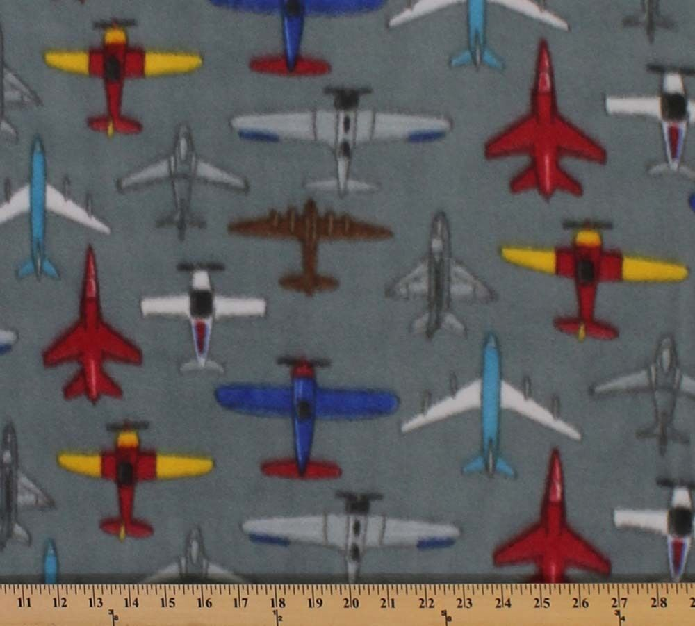 Multicolored airplanes flying gray grey fleece fabric for Airplane fabric by the yard