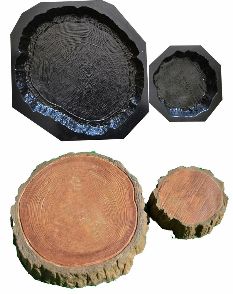 Set Of 2 Stepping Stone Log Slab Mold Concrete Cement