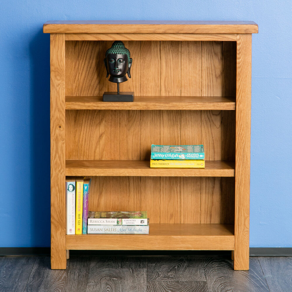 Surrey Oak Small Bookcase Solid Wood Low Bookcase
