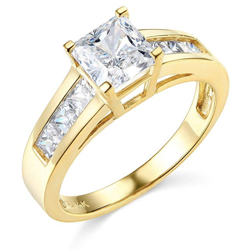 2 5 ct princess cut engagement wedding ring channel