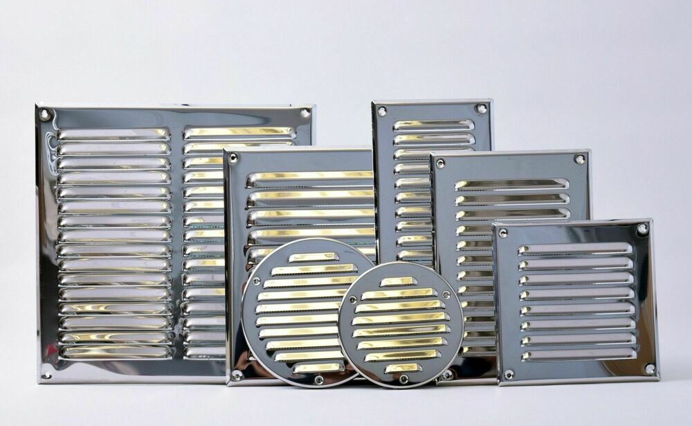 stainless steel air vent grille metal chrome wall ventilation ducting cover grid ebay. Black Bedroom Furniture Sets. Home Design Ideas