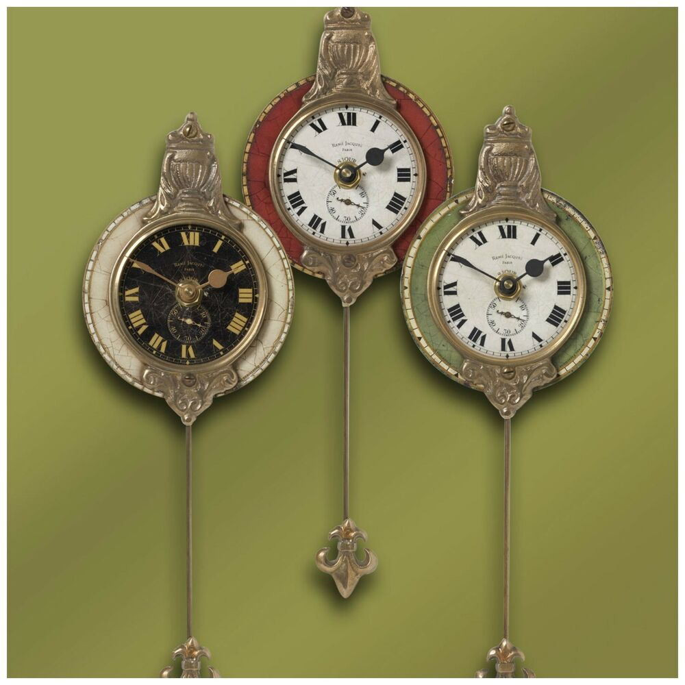 Three small aged face brass laminated round wall clocks pendulum vintage style ebay - Stylish pendulum wall clock ...