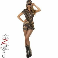 Adult Camo Army Girl Soldier Fancy Dress Costume Sexy Ladies Womens UK 8-14 New