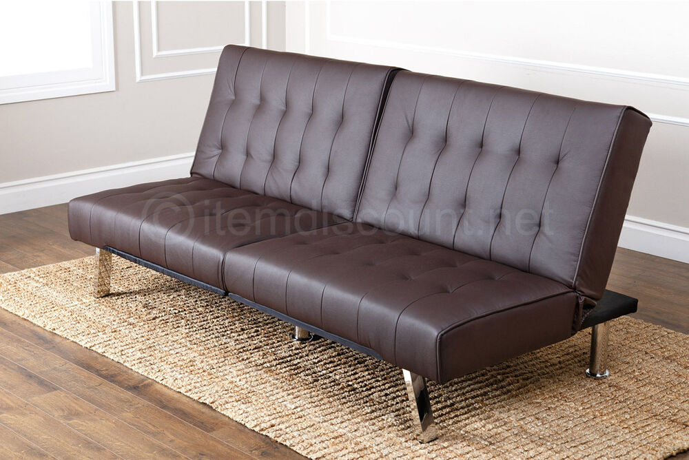 Brown tufted leather futon mattress folding couch sofa bed for Tufted leather sleeper sofa