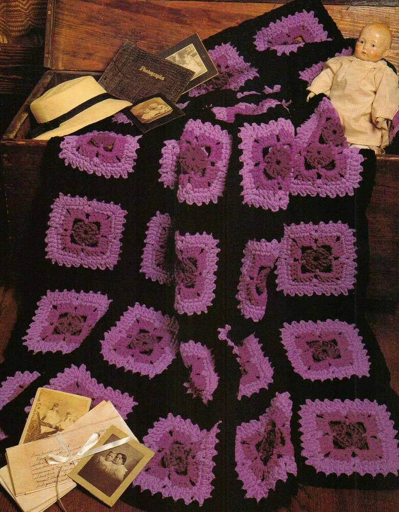 Crochet Patterns And Instructions : VINTAGE VIOLETS AFGHAN CROCHET PATTERN INSTRUCTIONS eBay