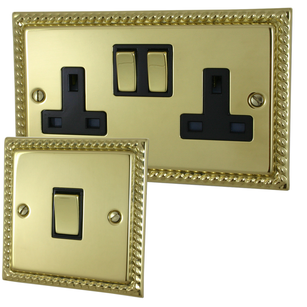 Georgian Polished Brass Sockets And Switches Full Range