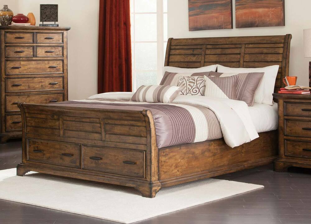Rustic slatted planks king foot board storage bed bedroom for Foot of bed furniture