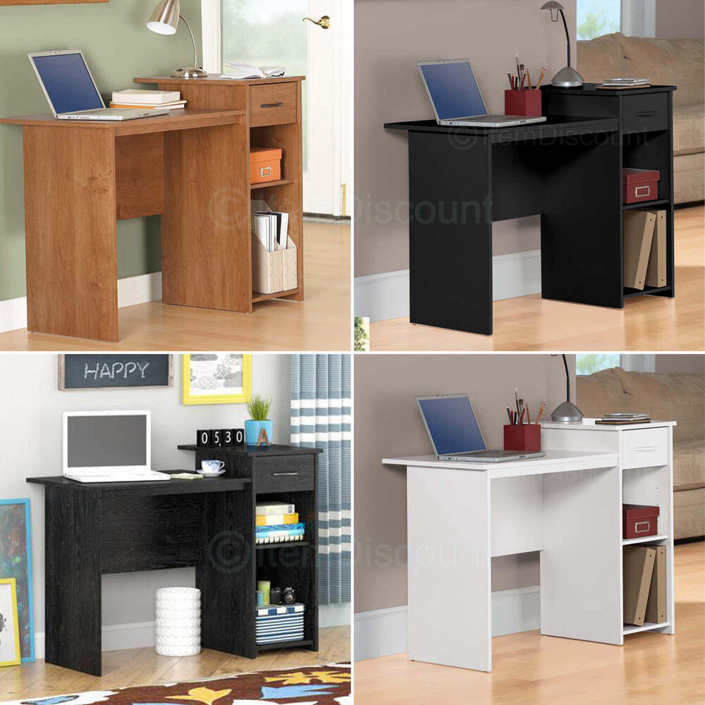 small computer desk office laptop table study dorm workstation oak white black ebay. Black Bedroom Furniture Sets. Home Design Ideas