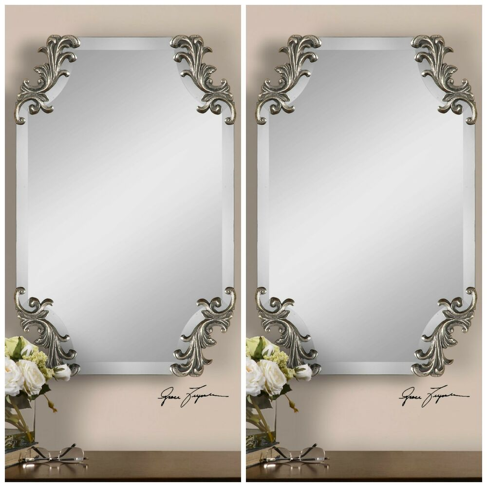 Two 29 frameless beveled wall mirror decorative corners for Frameless beveled mirror