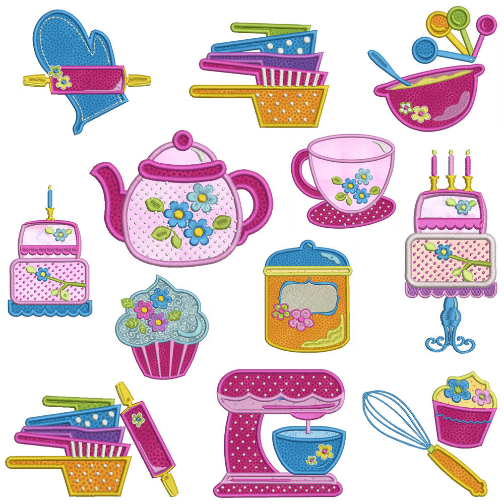 IN THE KITCHEN * Machine Applique Embroidery Patterns * 12 ...