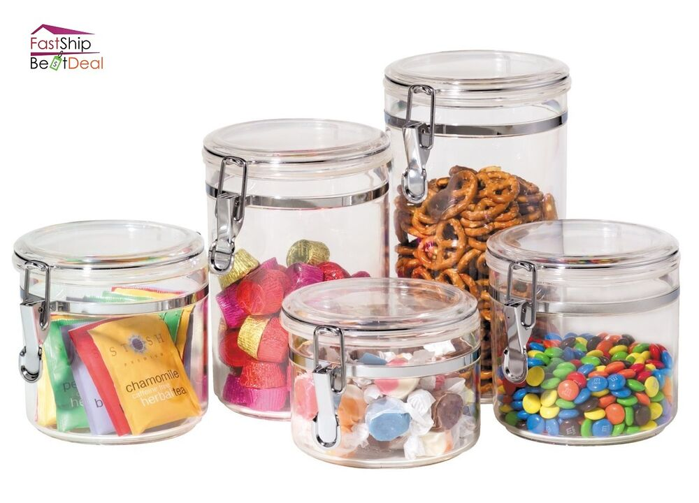 kitchen storage containers set kitchen food storage canister clear acrylic set of 5 jars 6163