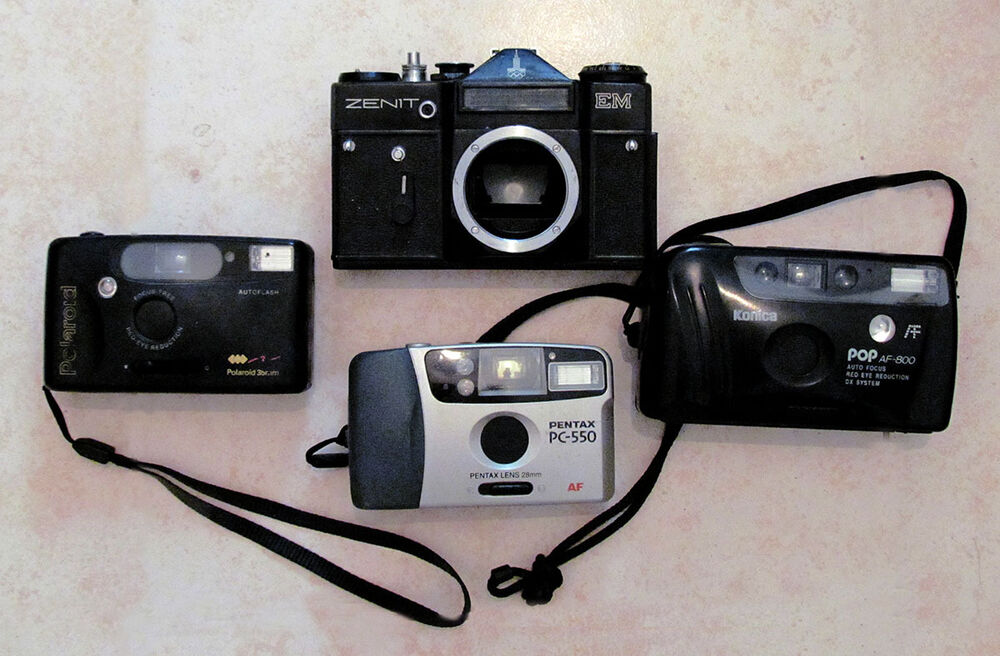 4 film cameras zenit em konica af 800 pentax pc 550 polaroid 35mm 27075046436 ebay. Black Bedroom Furniture Sets. Home Design Ideas