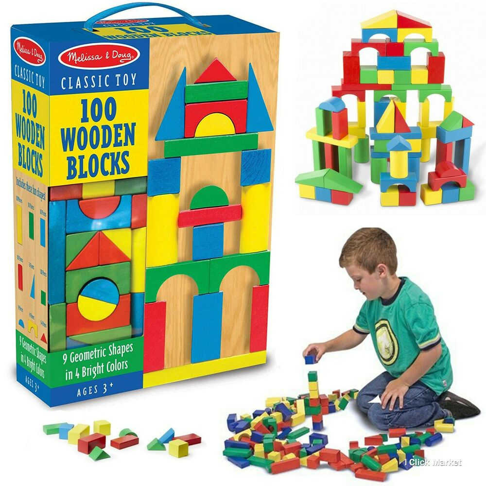 100 Piece Melissa & Doug Wooden Building Blocks Toy Set