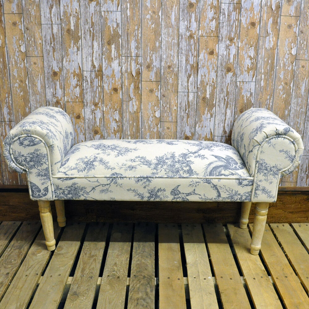 French blue pheasant window seat ottoman antique shabby for Chaise longue window seat