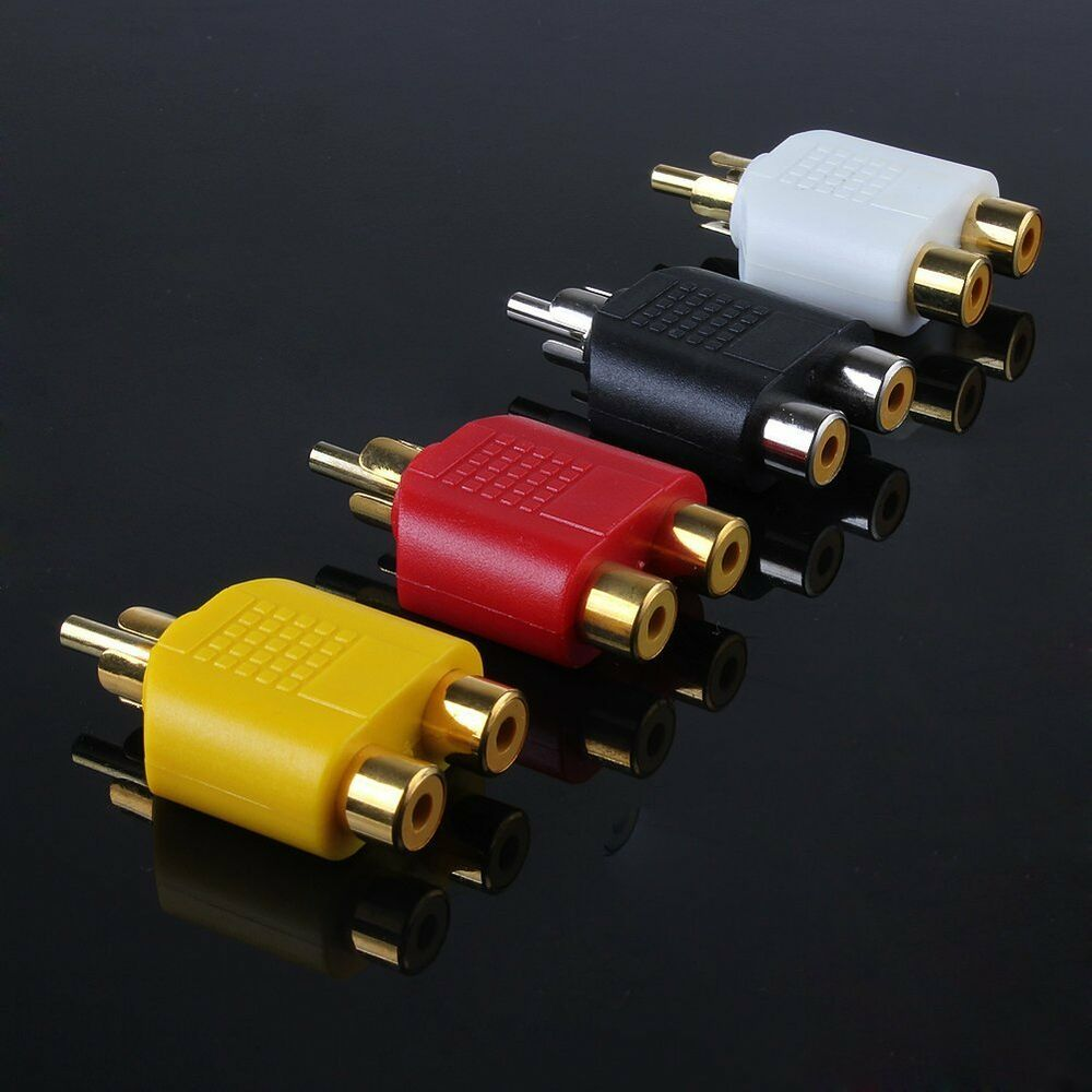 4x Rca Y Splitter Adapter 2 Female To 1 Male For Audio