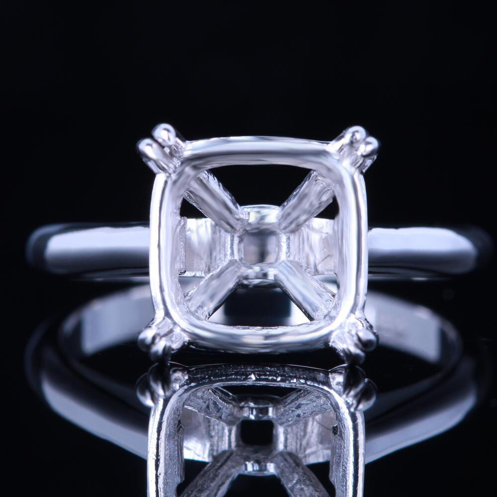 10x10mm cushion 925 silver plated white gold solitaire setting engagement ring ebay. Black Bedroom Furniture Sets. Home Design Ideas