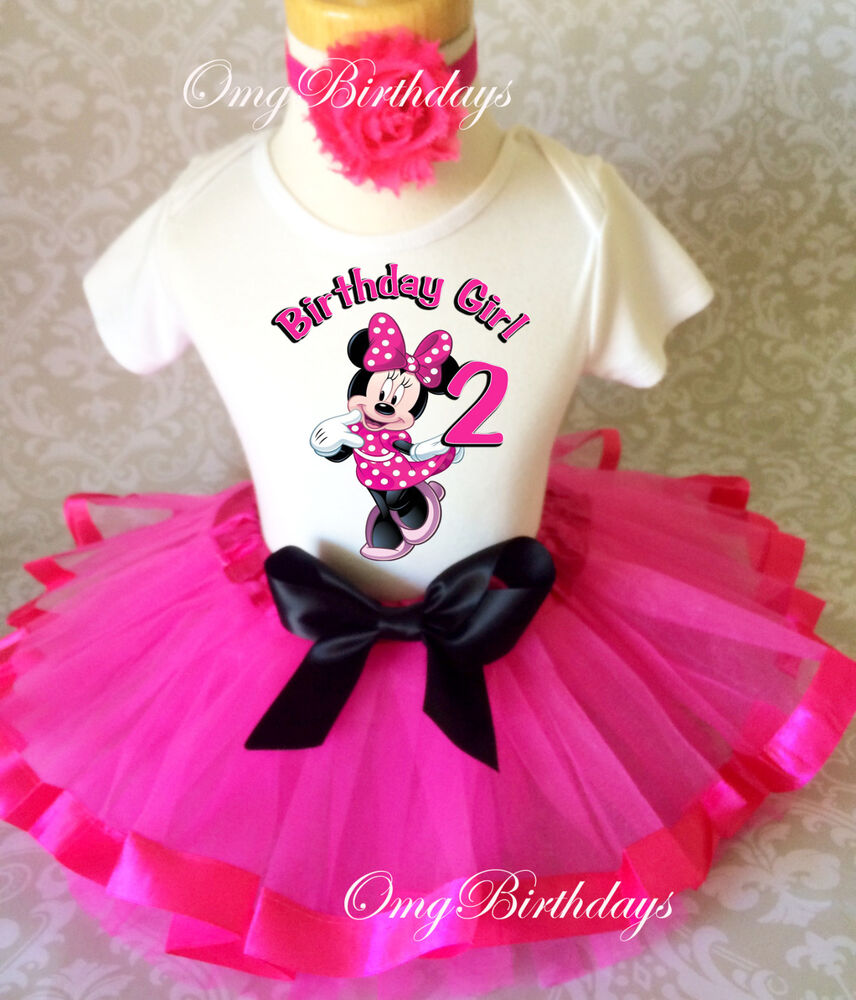 Birthday Party Outfit: Minnie Mouse Hot PINK Black Dots 2nd Birthday Shirt Tutu