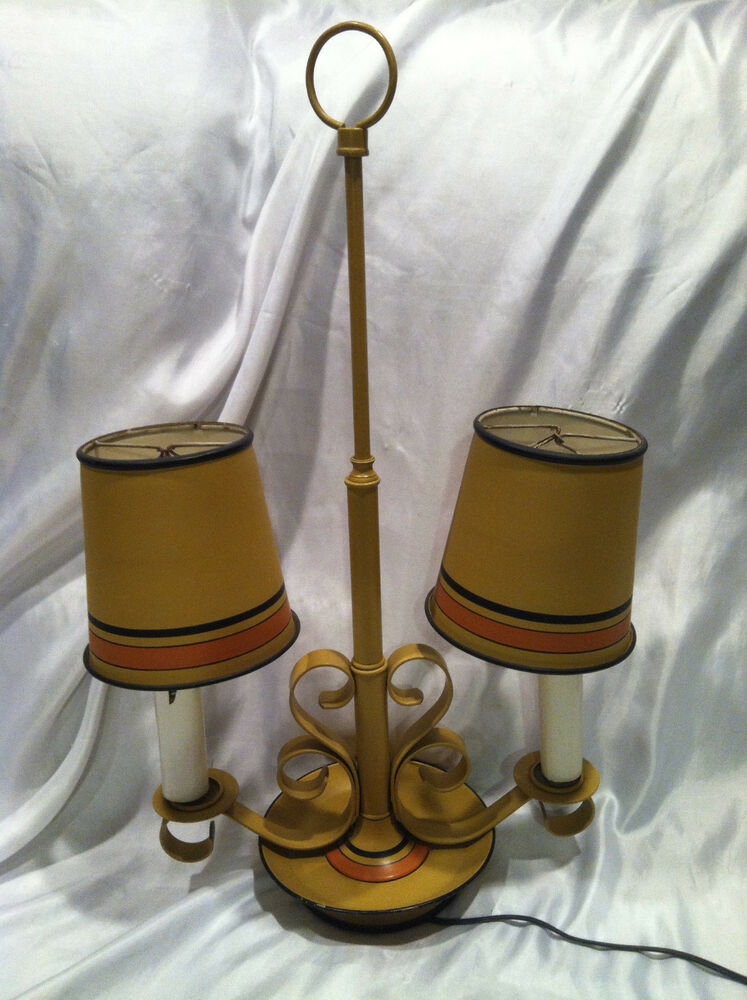 collectible vintage 21 1 2 electric metal table lamp double lamps with shades ebay. Black Bedroom Furniture Sets. Home Design Ideas