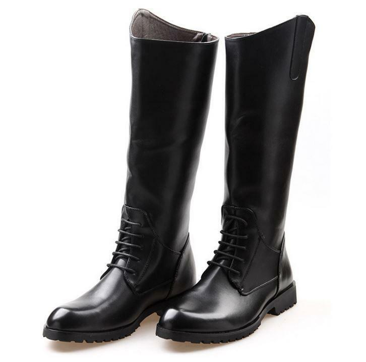 mens casual knee high boots equestrian lace up