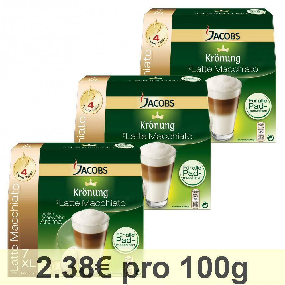 jacobs kr nung kaffeepads latte macchiato 3er pack 3x7 pads milchkompositionen ebay. Black Bedroom Furniture Sets. Home Design Ideas