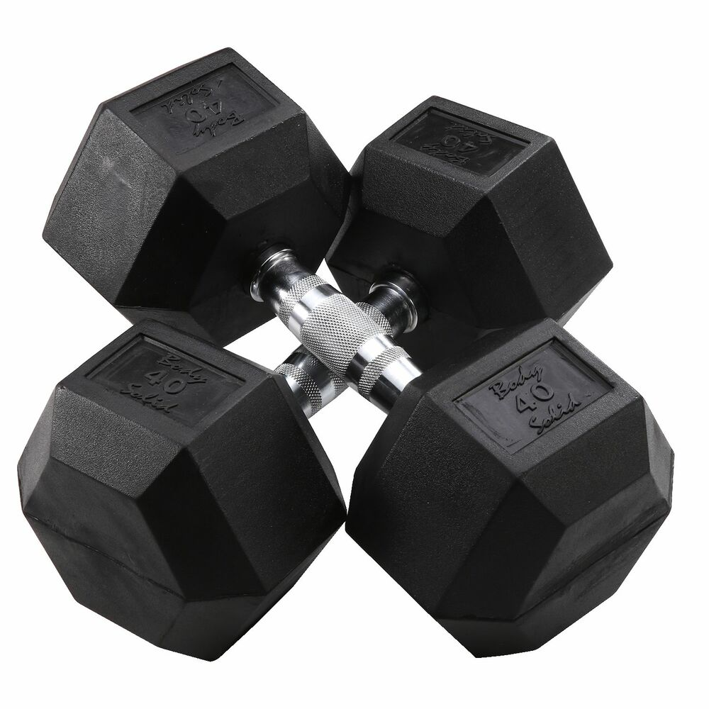 40 lb. Rubber Coated Dumbbell Pair, Body-Solid SDR40 | eBay