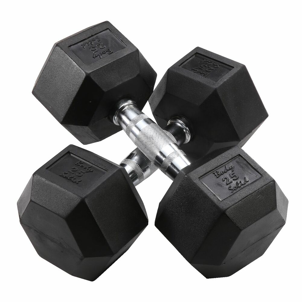 25 Lb Rubber Coated Dumbbell Pair Body Solid Sdr25 Ebay