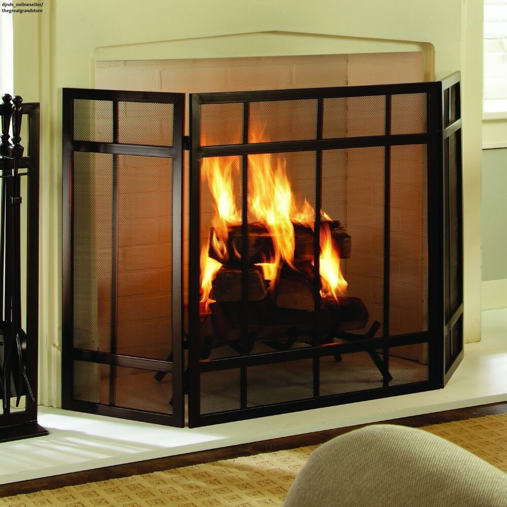 Hearth Covers: Mission Style Fireplace Screen Cover Free Standing Mesh