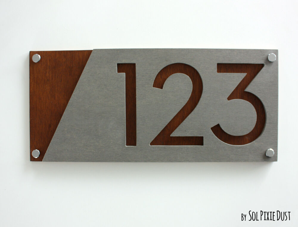 Modern house numbers concrete with marine plywood sign for Modern house number plaques