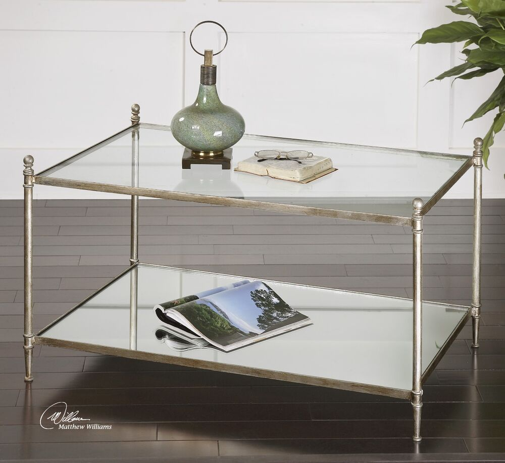 forged aged silver leaf iron base mirror shelf glass top cocktail coffee table ebay. Black Bedroom Furniture Sets. Home Design Ideas