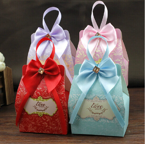 Wedding Favor Bags With Ribbon : ... Wedding Birthday Favor Party With Ribbon Boxes Gift Candy Box Bags