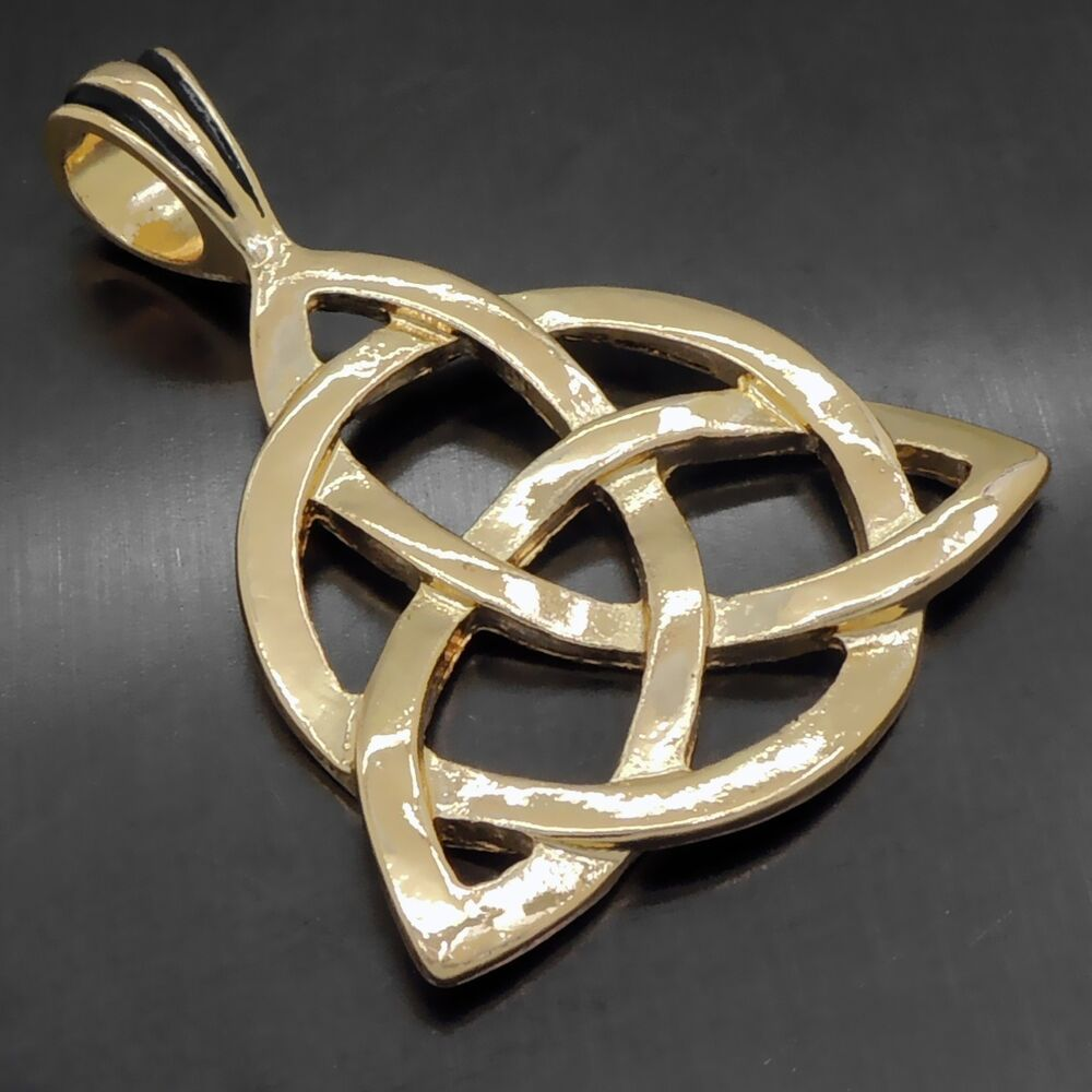 celtic knot triquetra trinity gold tone pewter pendant. Black Bedroom Furniture Sets. Home Design Ideas
