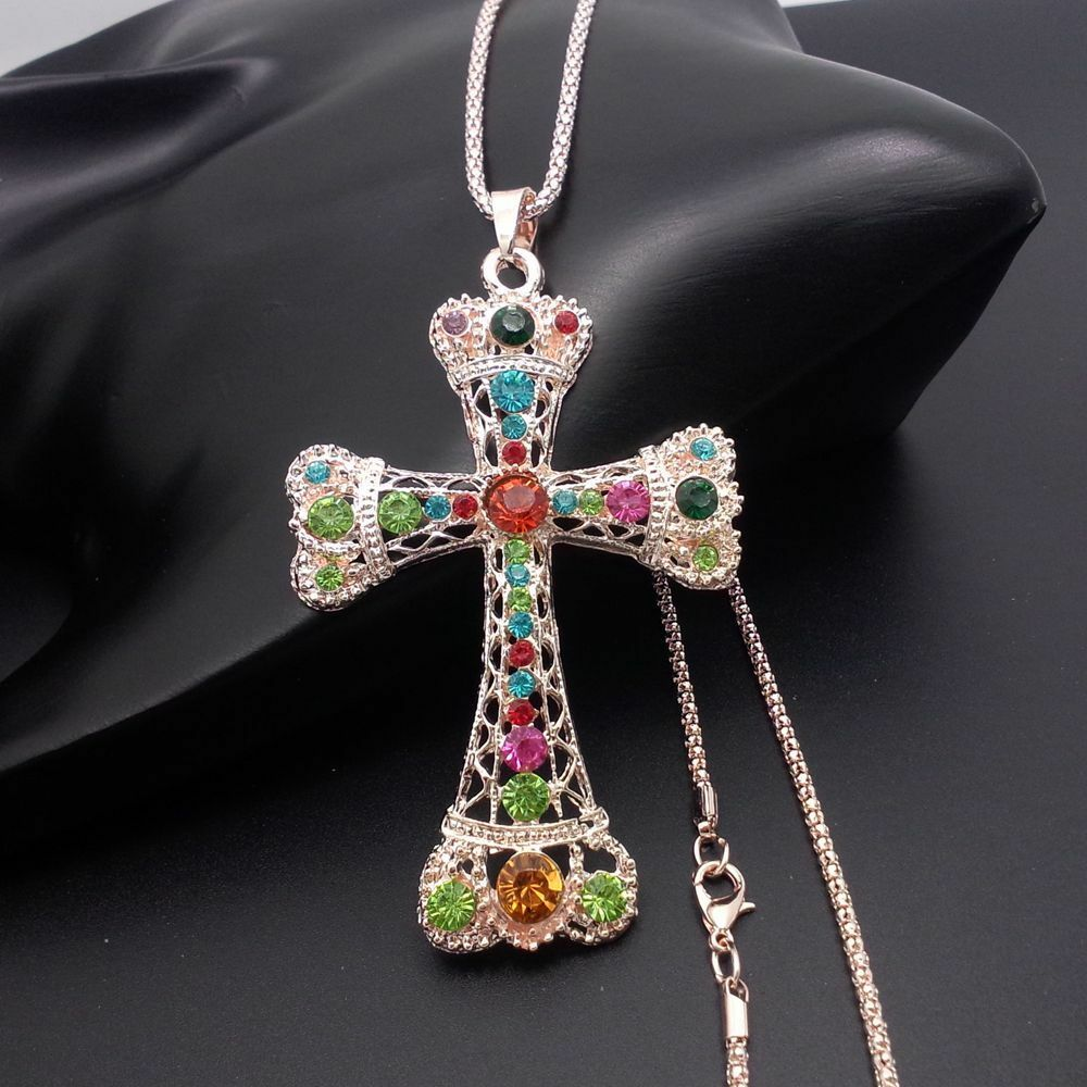 Fashion golden cross pendant sweater chain mosaic crystal for Black and blue jewelry cross necklace