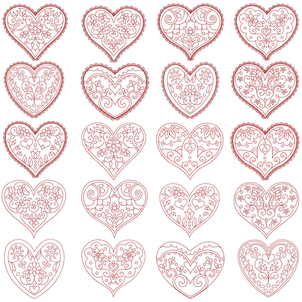 Hearts machine embroidery redwork patterns designs