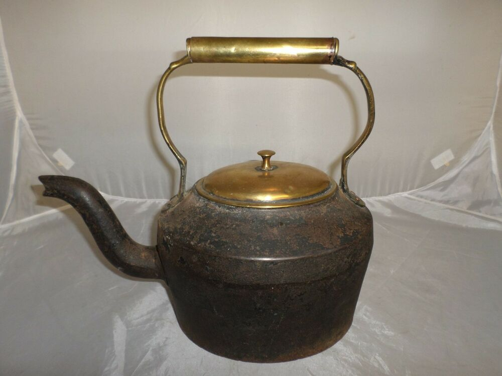 Antique Cast Iron ~ Victorian antique cast iron and brass kettle ebay
