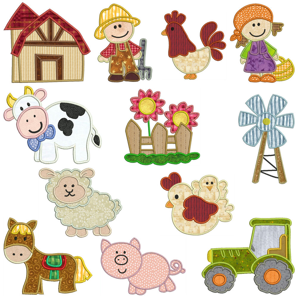 On the farm machine applique embroidery patterns