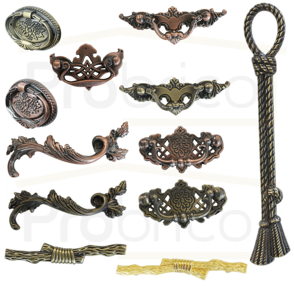 Vintage Antique Bronze Kitchen Cabinet Door Handles Drawer Pulls Knobs Hardware Ebay