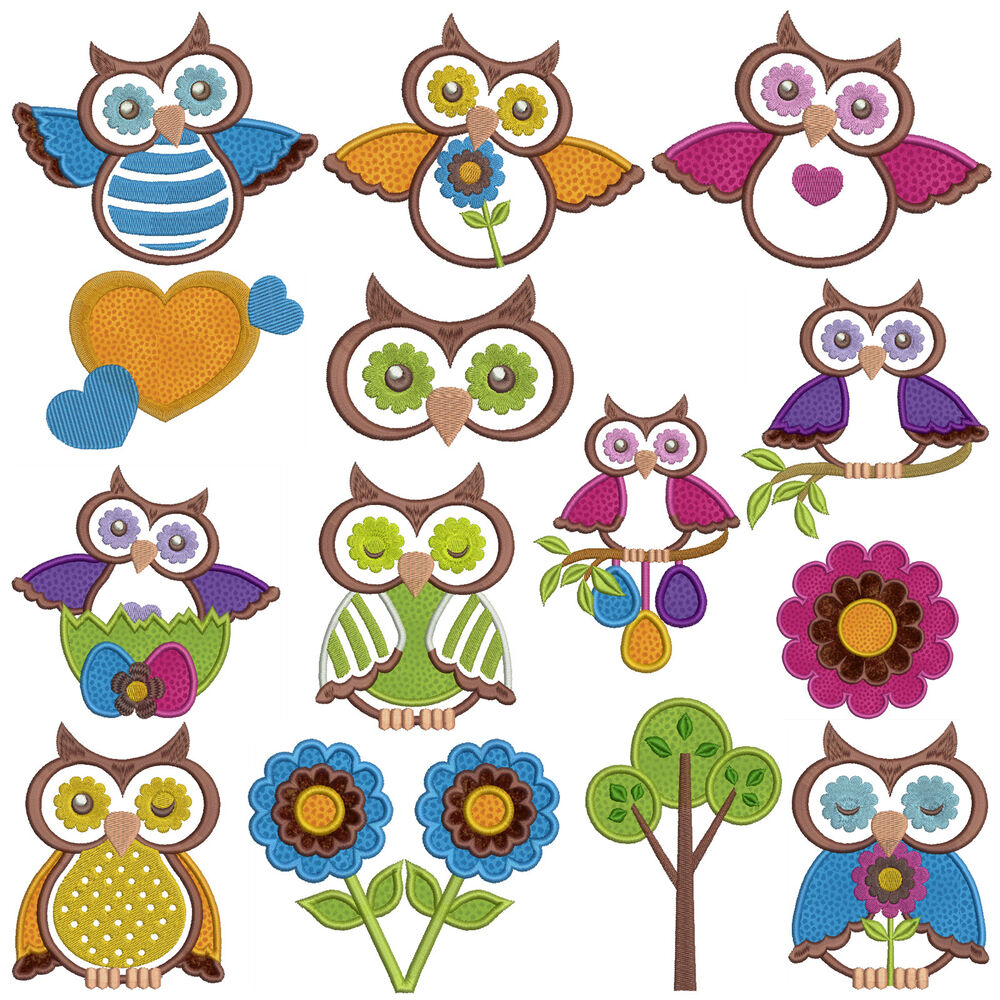 Owls machine applique embroidery patterns