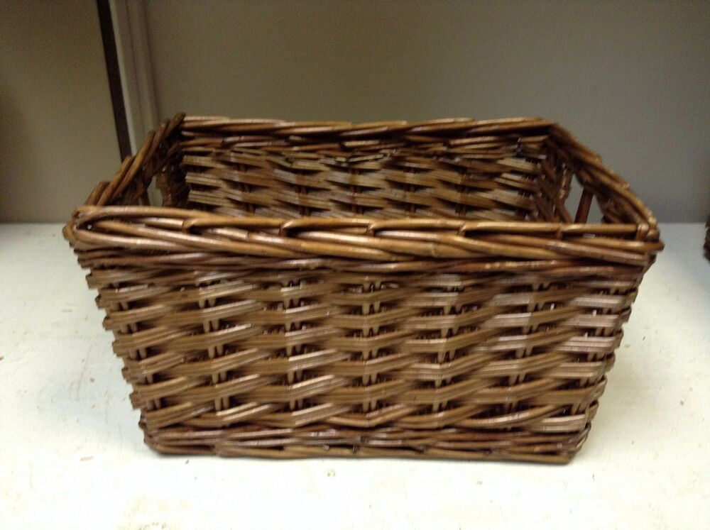 large woven wood wicker storage organization toy laundry. Black Bedroom Furniture Sets. Home Design Ideas