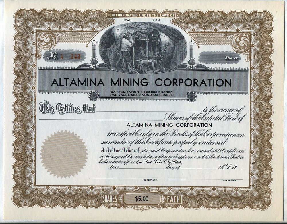 Vintage Marriage Certificate Washoe County Nevada: Altamina Mining Corporation Stock Certificate Utah