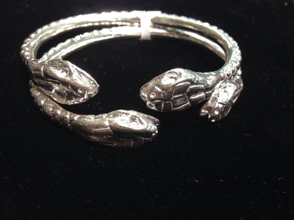 Pair Of Giant Snake Head Solid Handmade West Indian Sterling Silver Bangles Ebay
