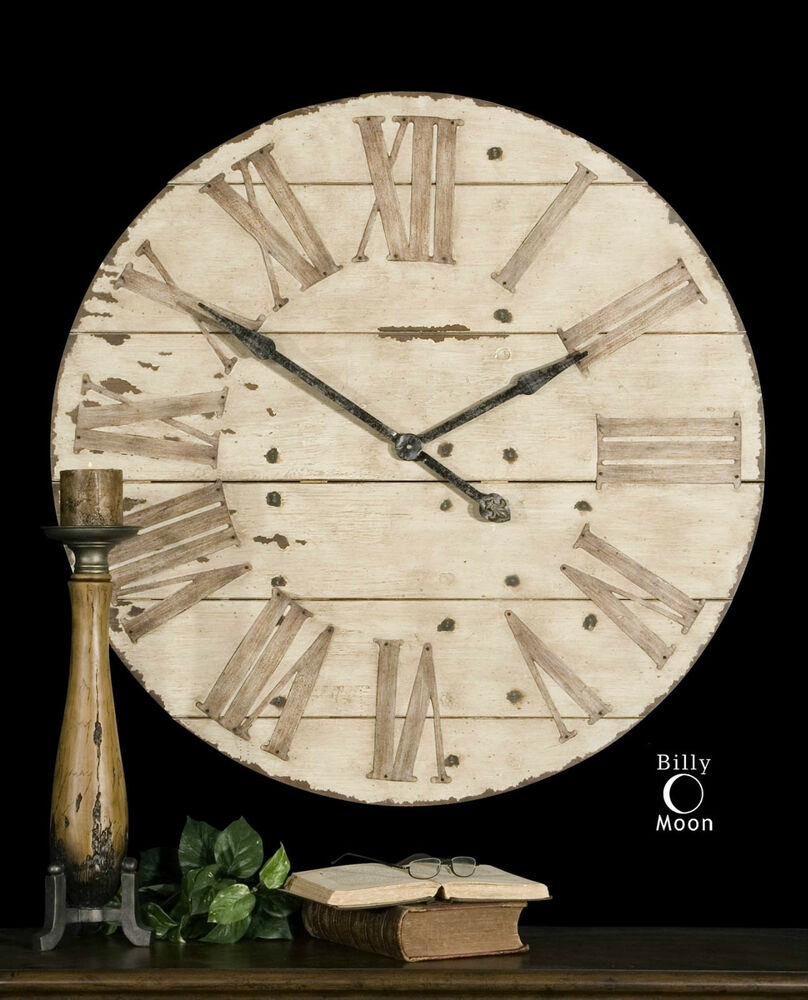 36 Quot Rustic Round Wood Amp Metal Wall Clock Large Roman