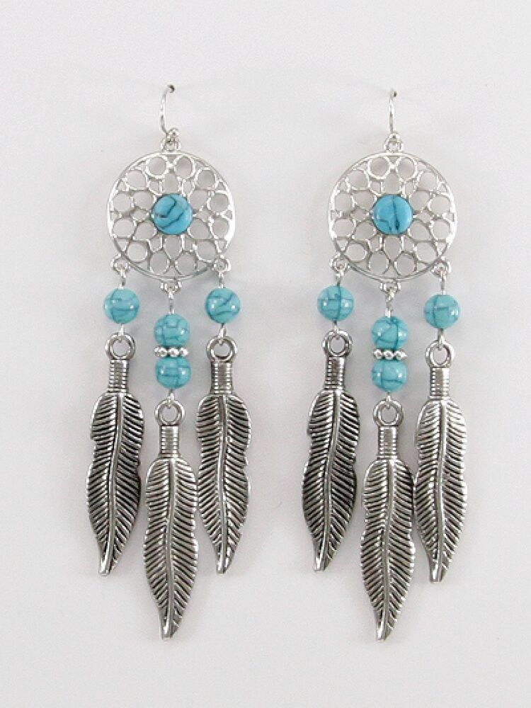 turquoise beaded earrings dream catcher drop dangle silver. Black Bedroom Furniture Sets. Home Design Ideas
