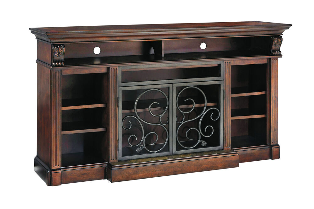 Alymere 72 Inch Tv Stand Traditional Rustic Brown Entertainment Media Console Ebay