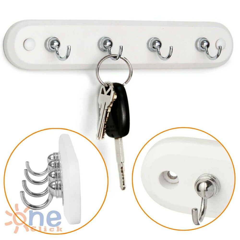 Wall Mount Key Rack Hanger Holder 4 Hook Chain Storage